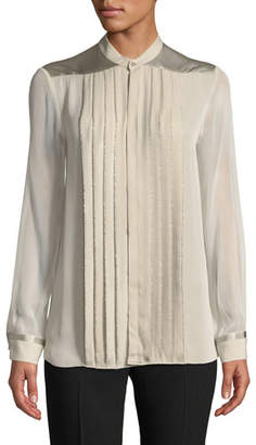 Elie Tahari Gilberta Small Chain Pleated Button-Front Silk Blouse