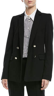 Escada Double-Breasted Long-Sleeve Crepe Jersey Jacket