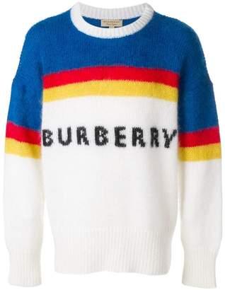 Burberry striped logo intarsia sweater
