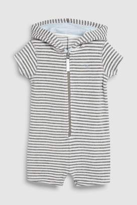 Next Boys Grey Stripe Towelling All-In-One (3mths-8yrs) - Grey