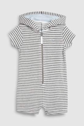Next Boys Grey Stripe Towelling All-In-One (3mths-8yrs) - Grey