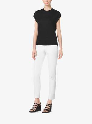 Michael Kors Cap-Sleeve Linen Crewneck Top