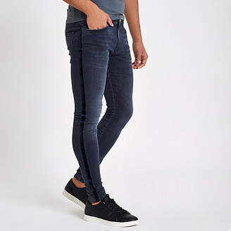 River Island Mens Dark Blue velvet stripe spray on skinny jeans