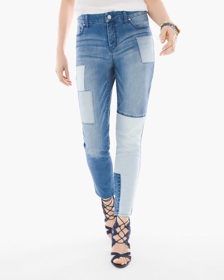 Chico'sIndigo Patchwork Girlfriend Ankle Jeans