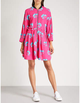 Maje Zip-front floral-print crepe dress