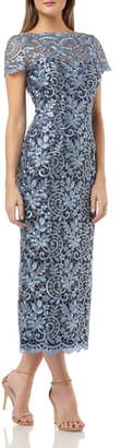 JS Collections Metallic Scroll Embroidered Mesh Gown