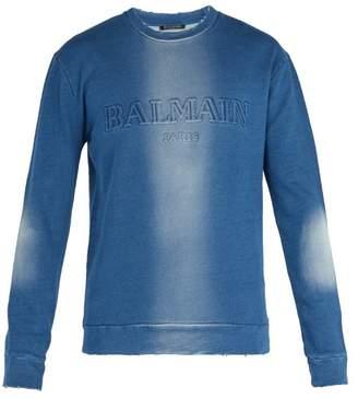 Balmain Distressed Cotton Jersey Logo Sweatshirt - Mens - Blue
