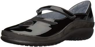Naot Footwear Women's Matai Mary Jane Flat, Patent Leather/Black Velvet Nubuck