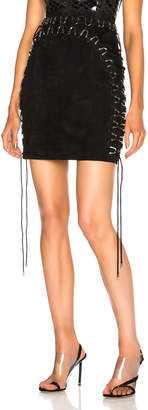Thierry Mugler Suede Lace Up Detail Mini Skirt