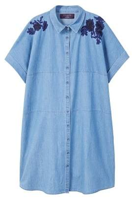 Violeta BY MANGO Embroidered denim dress