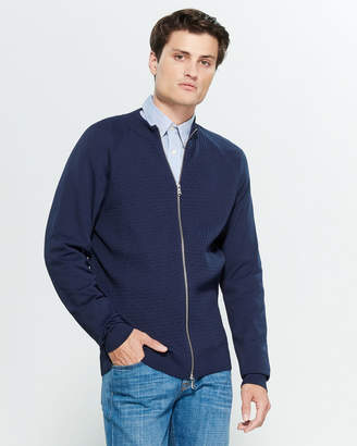 Gant Contrast Basket Weave Long Sleeve Zip-Up Sweater