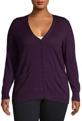 Lord & Taylor Plus V-neck Merino Wool Cardigan