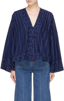 Elizabeth and James 'Orchid' geometric embroidered wide sleeve top