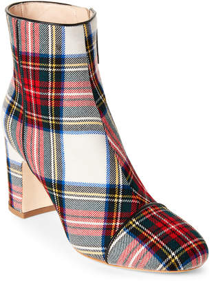 Polly Plume Alley Bogart Plaid Block Heel Ankle Booties