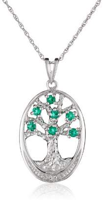 Sterling Created-Emerald and Diamond Accent Oval Tree of Life Pendant Necklace