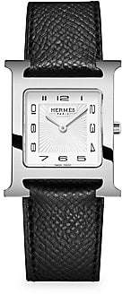 HERMÃS HERMÃS Heure H Stainless Steel& Leather Strap Watch