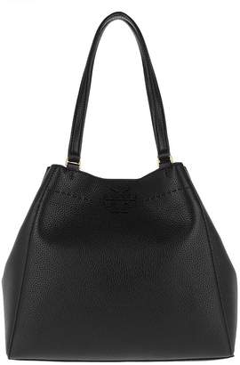 Tory Burch McGraw Carryall Tote Pebbled Leather Black