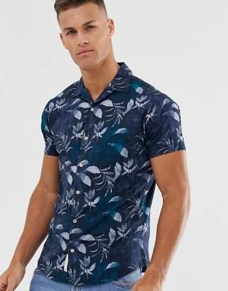 Jack and Jones Short Sleeve Revere Collar Shirt In Floral Print
