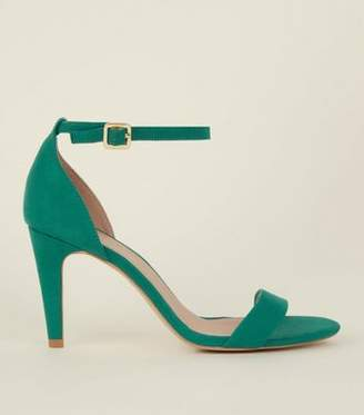 New Look Wide Fit Green Suedette Ankle Strap Heels