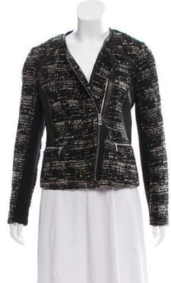 Rebecca Taylor Leather-Trimmed Zip-Up Jacket