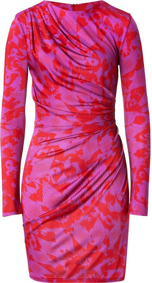 Matthew Williamson Red/Rosebud Draped Jersey Dress