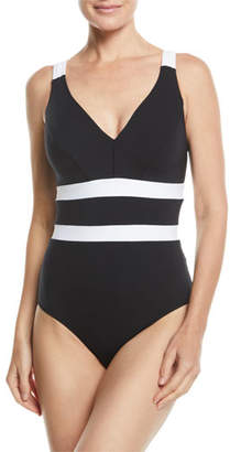 Jets Classique V-Neck Underwire One-Piece Swimsuit (Available in Extended Cup Size)