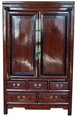 One Kings Lane Vintage Antique Black Wood & Rosewood Cabinet