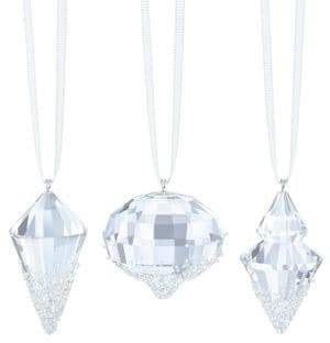 Swarovski Crystal Studded Geometric Christmas Ornaments- Set of 3