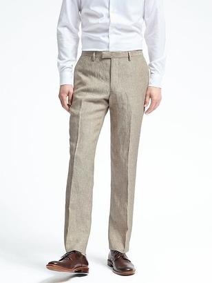 Slim Solid Linen Suit Trouser