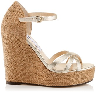 Jimmy Choo DELANEY 125 Champagne Washed Metallic Nappa Leather Wedges with Braided Rope Detailing