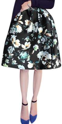 Unique Bargains Women Flower Pattern Elastic High Waist Full Skirt Black M