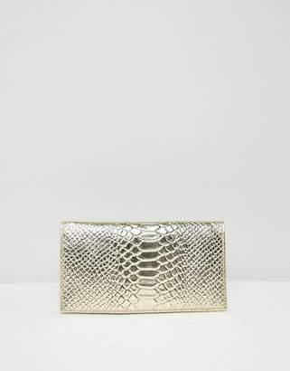 Asos DESIGN leather metallic croc foldover purse