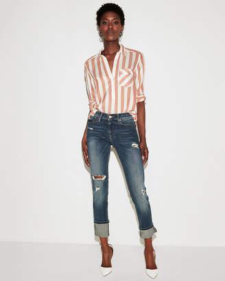 Express Stripe One Pocket Boyfriend Shirt