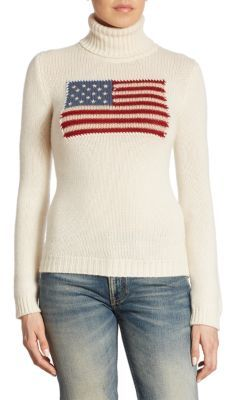 Ralph Lauren Collection Iconic Flag Cashmere Turtleneck Sweater