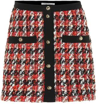 Alessandra Rich Plaid wool and mohair-blend miniskirt
