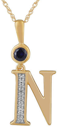 N. FINE JEWELRY Womens Lab Created Blue Sapphire 14K Gold Over Silver Pendant Necklace