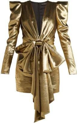 Alexandre Vauthier Lame Silk Blend Mini Dress - Womens - Gold