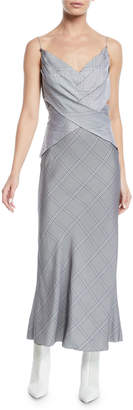 Dion Lee Crisscross Detail V-Neck Cami Viscose Check Dress