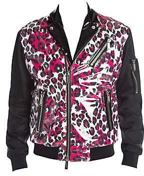 DSQUARED2 Men's Leopard Moto Jacket