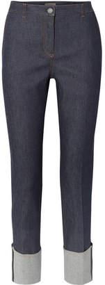 Bottega Veneta Leather-trimmed High-rise Straight-leg Jeans - Dark denim