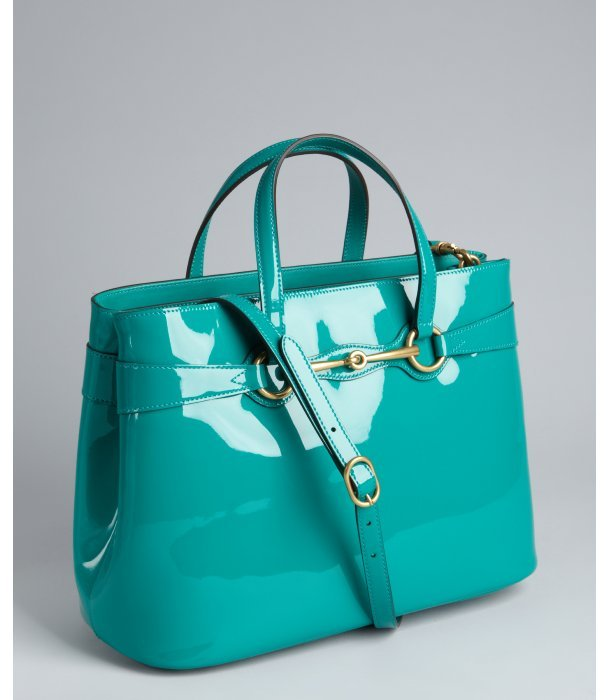 Gucci teal patent leather 'Horse Bit' convertible tote bag