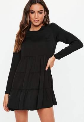Missguided Black Long Sleeve Smock Dress