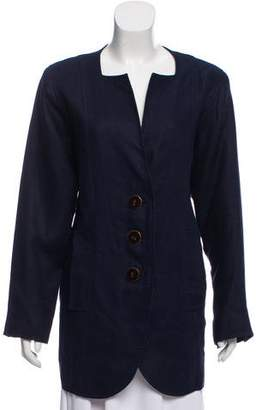 Oscar de la Renta Square Neck Button-Up Jacket