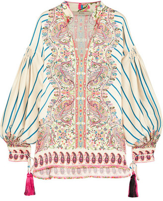 Etro - Tasseled Printed Silk-satin Twill Blouse - Cream $2,540 thestylecure.com