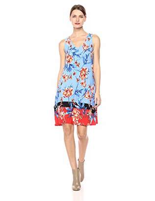 MSK Women's V-Neck Trapeze Dress withcolor Blocking Floral Puff Print