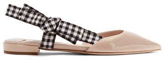Miu Miu Patent-leather Point-toe Flats - Beige