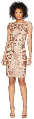 Adrianna Papell Cap Sleeve Fully Sequin Sheath Dress Women's Dress