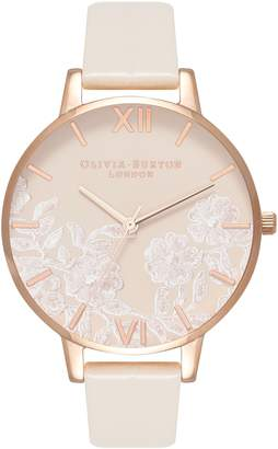 Olivia Burton Lace Detail Faux Leather Strap Watch, 38mm