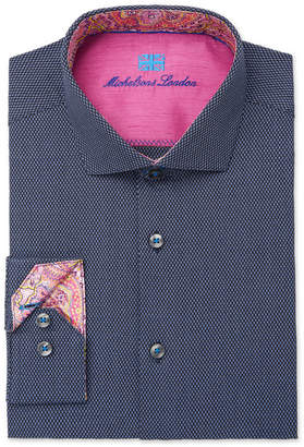 Michelsons of London Men's Slim-Fit Performance Navy Blue Fancy Dress Shirt