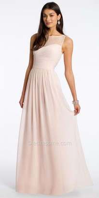 Camille La Vie Chiffon Evening Dress With Lace Neckline $160 thestylecure.com